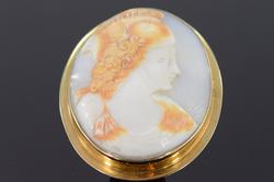 14K Yellow Gold Gladiator Carved Cameo Pendant/Pin