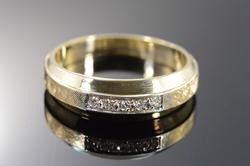 14K Gold Diamond Cross Hatch Wedding Band Men's Ring
