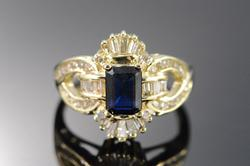 1.25 Ct Sapphire Diamond Cocktail Ring