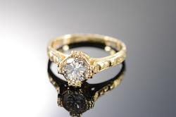 14K Yellow Gold Round Diamond Engraved Engagement Ring