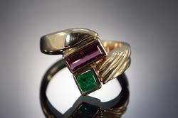 14K Gold Emerald & Pink Tourmaline Cocktail Ring