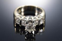 Platinum Bar Set Diamond Engagement Ring