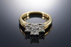 Platinum/14K Gold Princess Diamond Engagement Ring