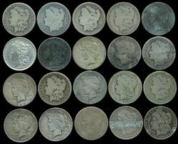 20 Assorted Morgan & Peace Silver Dollars. Lower end