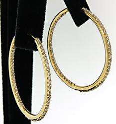 Yellow Gold Diamond In & Out Hoops