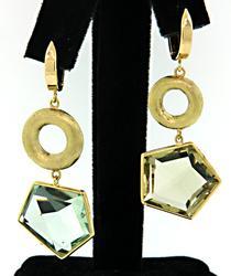 Abstract Yellow & Green Quartz Dangle Earrings in 18K