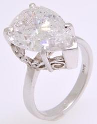 6.27 CT Pear Cut Diamond Solitaire Ring, Huge