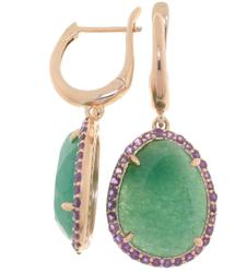Beautiful Silver Earrings with Aventurine and Amethysts