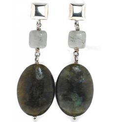 Exotic Labradorite Gemstone in Sterling Silver Earrings