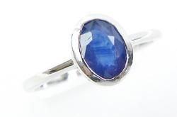Sterling Ring with Bezel Set Blue Sapphire