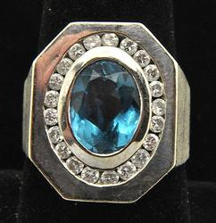 Gents 14kt Gold Large Blue Topaz & Diamond Ring