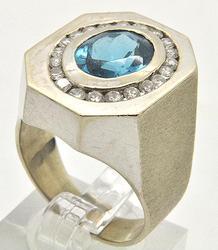 Gents Classy Blue Topaz & Diamond Ring, 14K