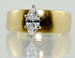 Stylish 14K Marquise Diamond Engagement Ring