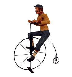 Decorative 2 Pc Figure, Man Riding a High Wheel Bicycle