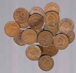 Lot of 25 Indian Head Cents 1900-1909