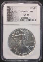 2002 Certified Silver Eagle NGC MS 69