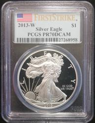 2013 W Certified Proof Silver Eagle PCGS PR 70 DCAM