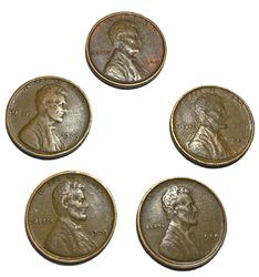 5 Nicer 1909 VDB Type Lincoln Cents