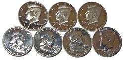 7 Proof Silver Half Dollars 1961-4 2001 S- 2003 S