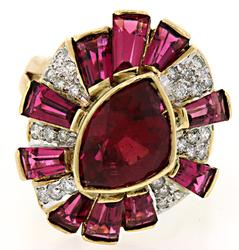 5.33 CTW Rubellite, Tourmaline & Diamond Ballerina Ring