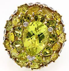 13.5 CTW Lemon Quartz and Diamond Dome Ring