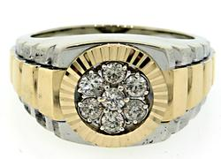 18kt Two Tone Rolex Style Diamond Ring
