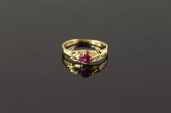 14K Yellow Gold Red Stone Baby Ring