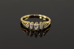 18K Yellow Gold Marquise Diamond Wedding Band Ring