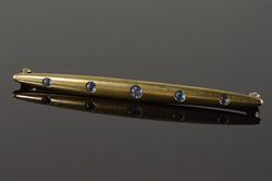14K Yellow Gold Sapphire Pin