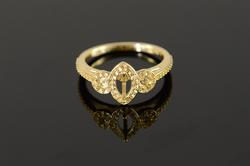 14K Yellow Gold New 3 Stone Mounting Engagement Ring