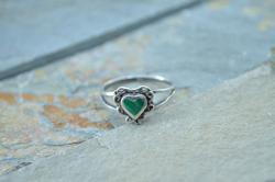 Vintage Malachite Heart Ring Size 6.75 Silver