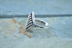 Granulated Detailed Kite Shaped Ring Size 6 Silver