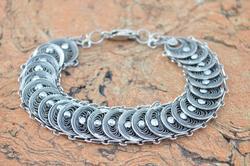 Vintage Filigree Link Bracelet Silver