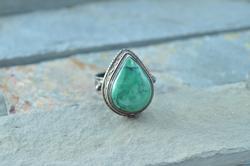 Bezel Set Natural Stone Tear Drop Ring Sterling Silver