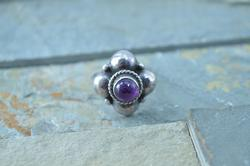 Vintage Bezel Set Purple Stone Ring Sterling Silver