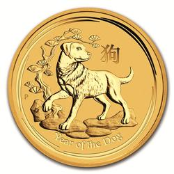 1/10 oz Gold Australian Perth Mint Series II Lunar Dog