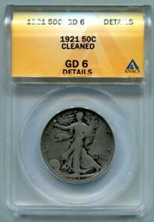 1921-P Walking Liberty Silver Half Dollar ANACS GD 6