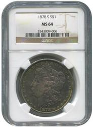 Certified Morgan Silver Dollar 1878-S MS64 NGC