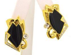 Black Onyx & Diamond Earrings in 18K