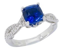 Cushion Cut Blue Sapphire & Diamond Ring, 18K