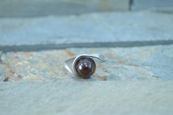 Unique Bezel Set Amber Bypass Ring Sterling Silver