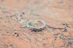 Petite Patterned Adjustable Band Ring Sterling Silver
