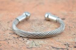 Chunky Twisted Rope Cuff Bracelet Sterling Silver
