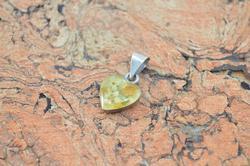 Vintage Dried Flower Heart Pendant Sterling Silver