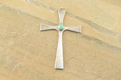 Heavy Curved Turquoise Cabochon Cross Pendant Silver