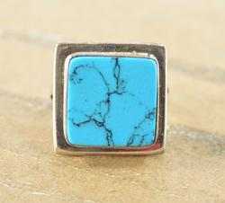 Blue Square Bezel Set Artisan Style Modern Ring Silver