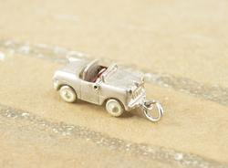3D Articulated Style Convertible Car Charm Silver