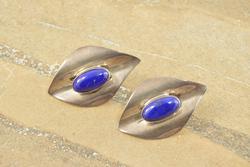Bezel Set Lapis Lazuli Curvy Style Earrings Silver