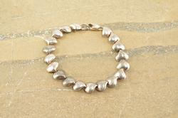 Puffy Style Heart Design Link Chain Bracelet Silver