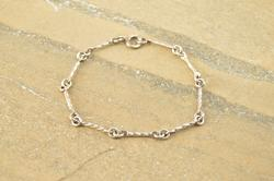Twisted Style Hinged Bar Link Bracelet Sterling Silver